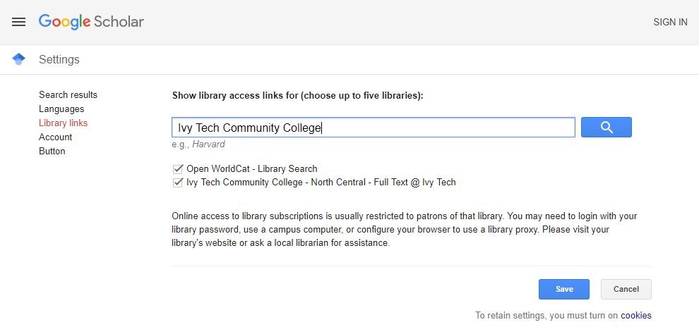 Google Scholar Ivy Tech Community College