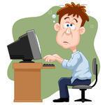 cartoon guy at computer
