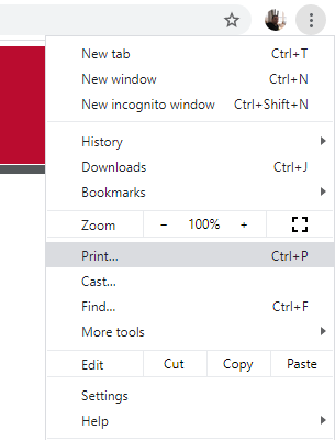 Screenshot showing to click on the three dots in the upper right of the browser window to see a drop down menu that includes the print option.