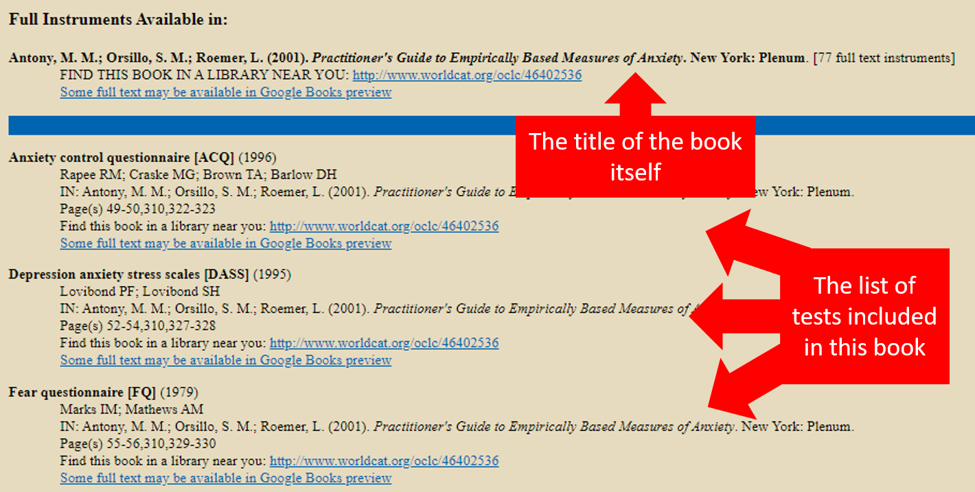 Screenshot of TMdb webpage showing the full book collection title at the top followed by a list of all the test instruments included in the book.