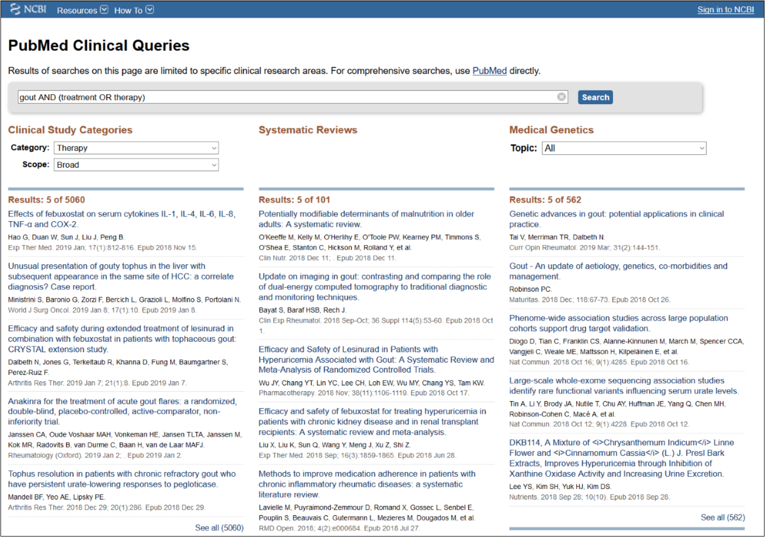 Pub Med Clinical Queries results page