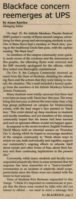Typed article in the university newspaper.