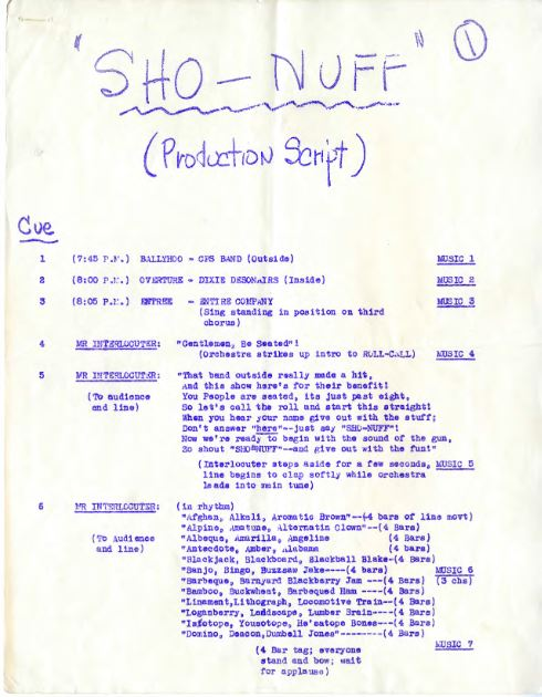 Typed page of a production script.