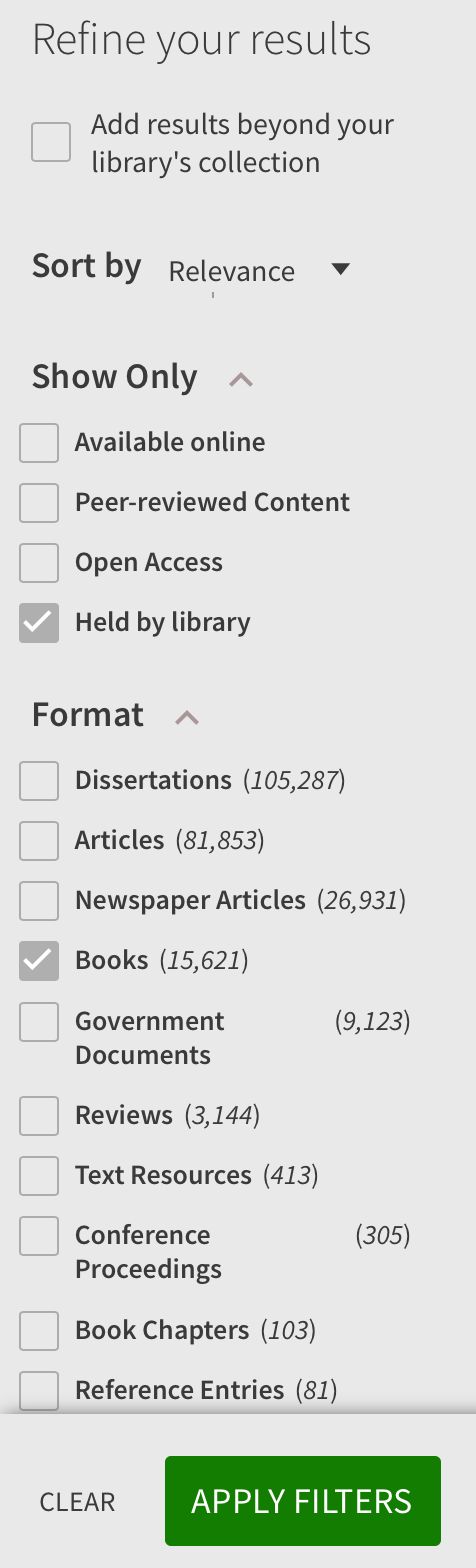 """Refine results using facets for """"held by library"""" and """"books"""""""