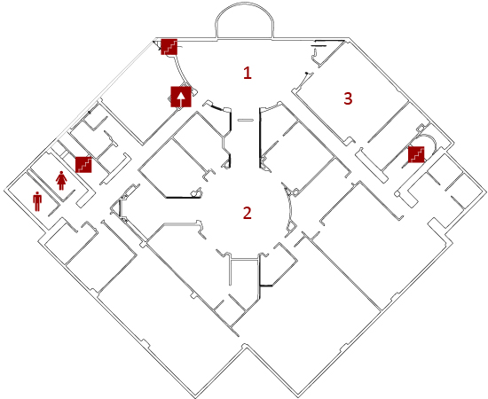 map image of the basement (i.e. Fountain or Garden) level of the Library