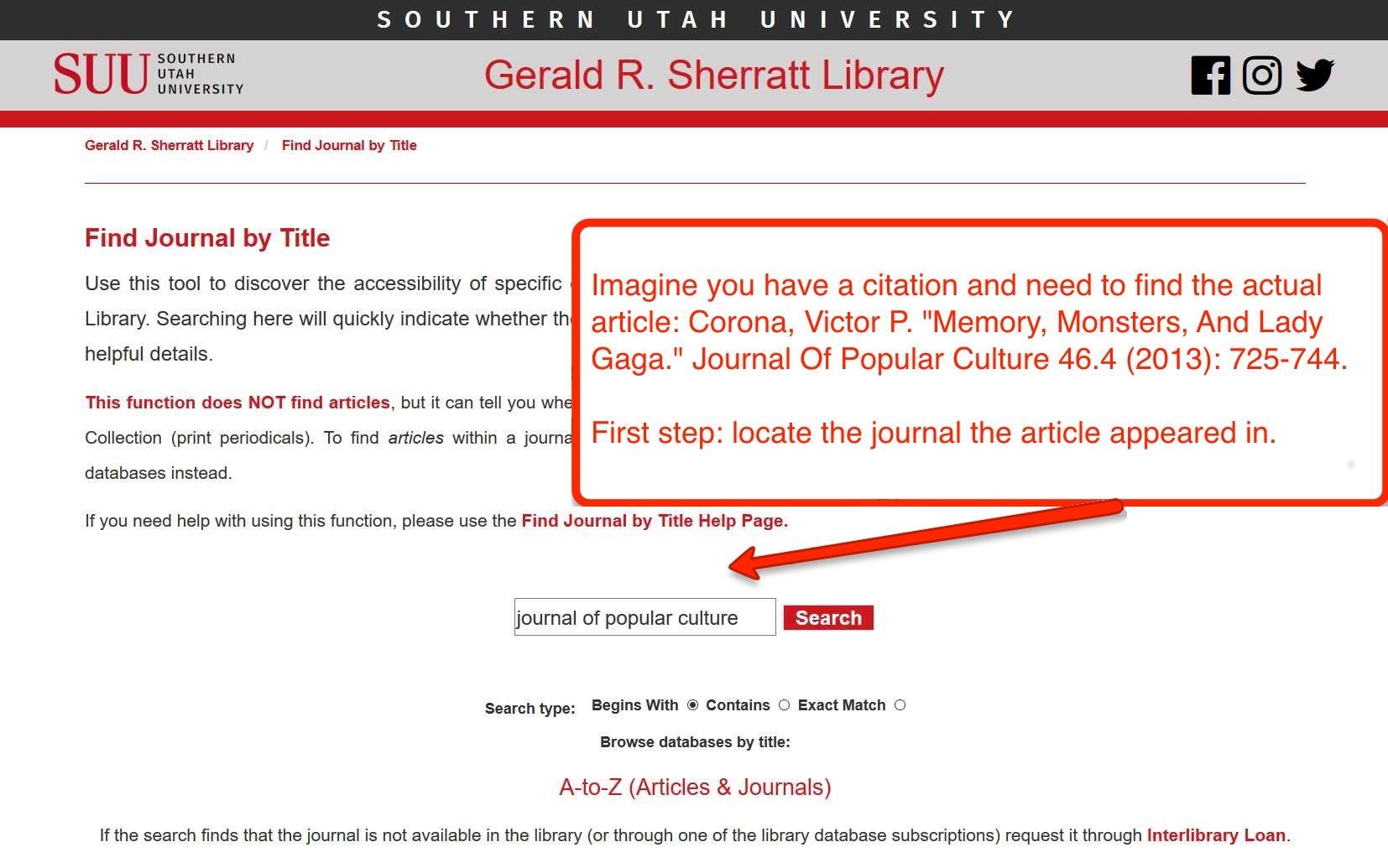 image of Find Journal by Title page with text entry box displayed