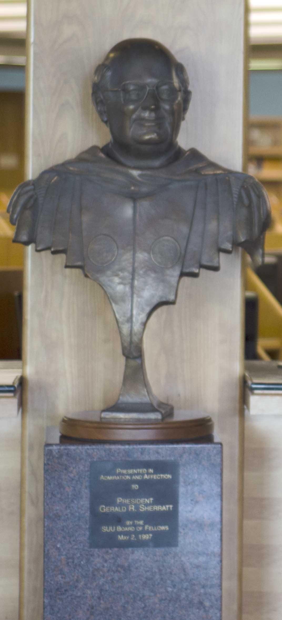 image of bronze bust of Gerald R. Sherratt