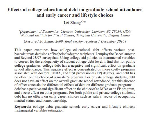 Effects of college education debt on graduate school attendance and early career and lifestyle choices