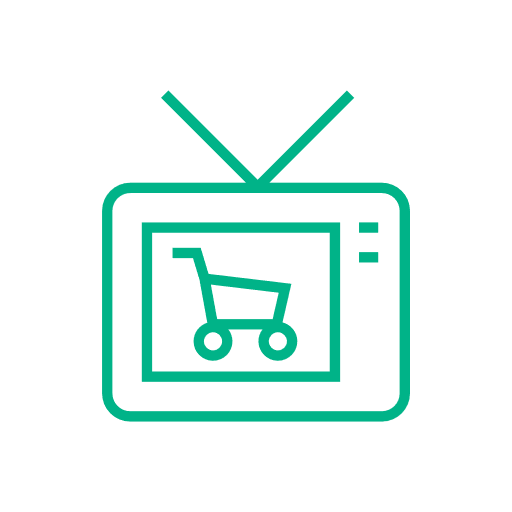 television set with image of shopping cart on screen