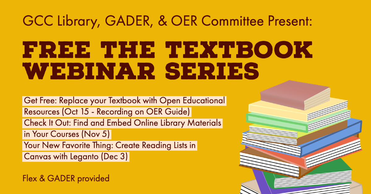 Free the Textbook Webinar Series: Check OER calendar for details
