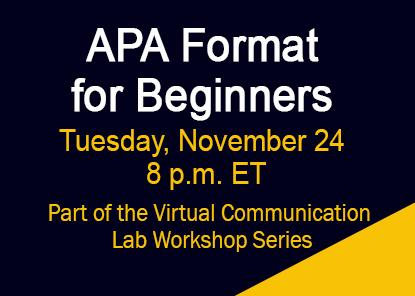 Workshop: APA Format for Beginners
