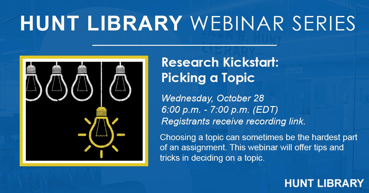 Research Kickstart: Picking a Topic - October 28