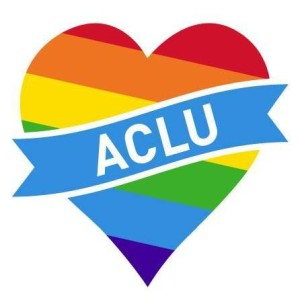 ACLU logo set against rainbow-colored heart