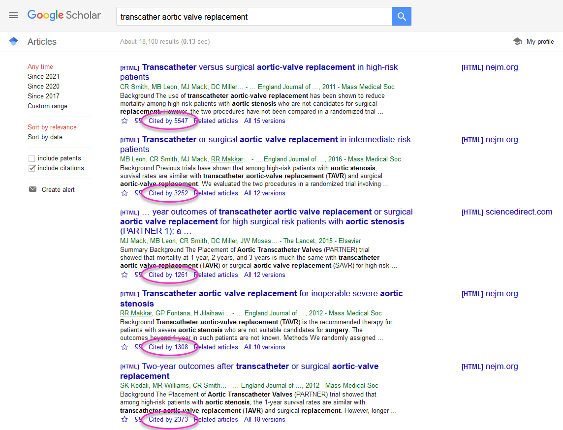 Google Scholar search results page with citation counts highlighted in results
