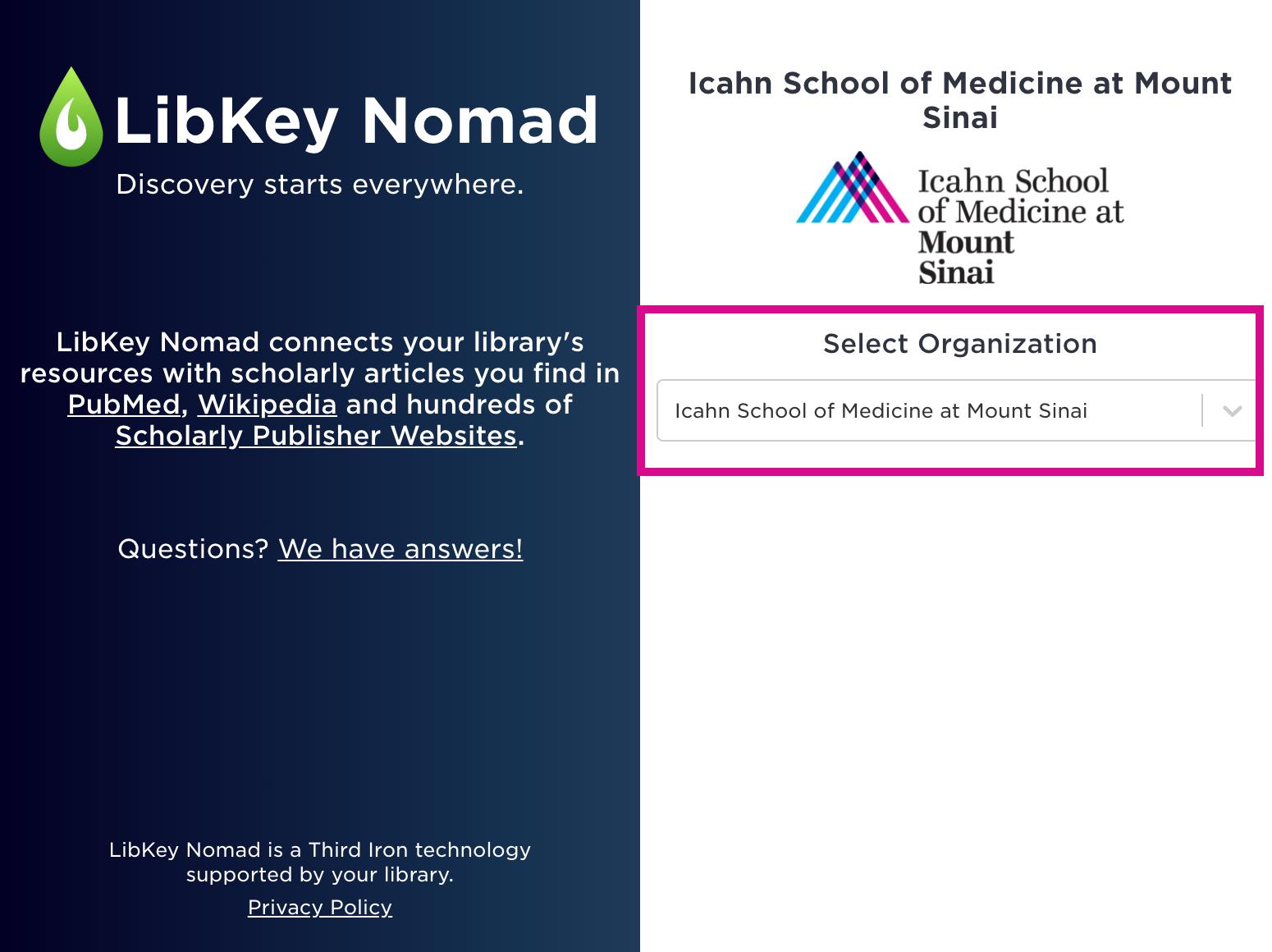 LibKey Nomas Set up screenshot