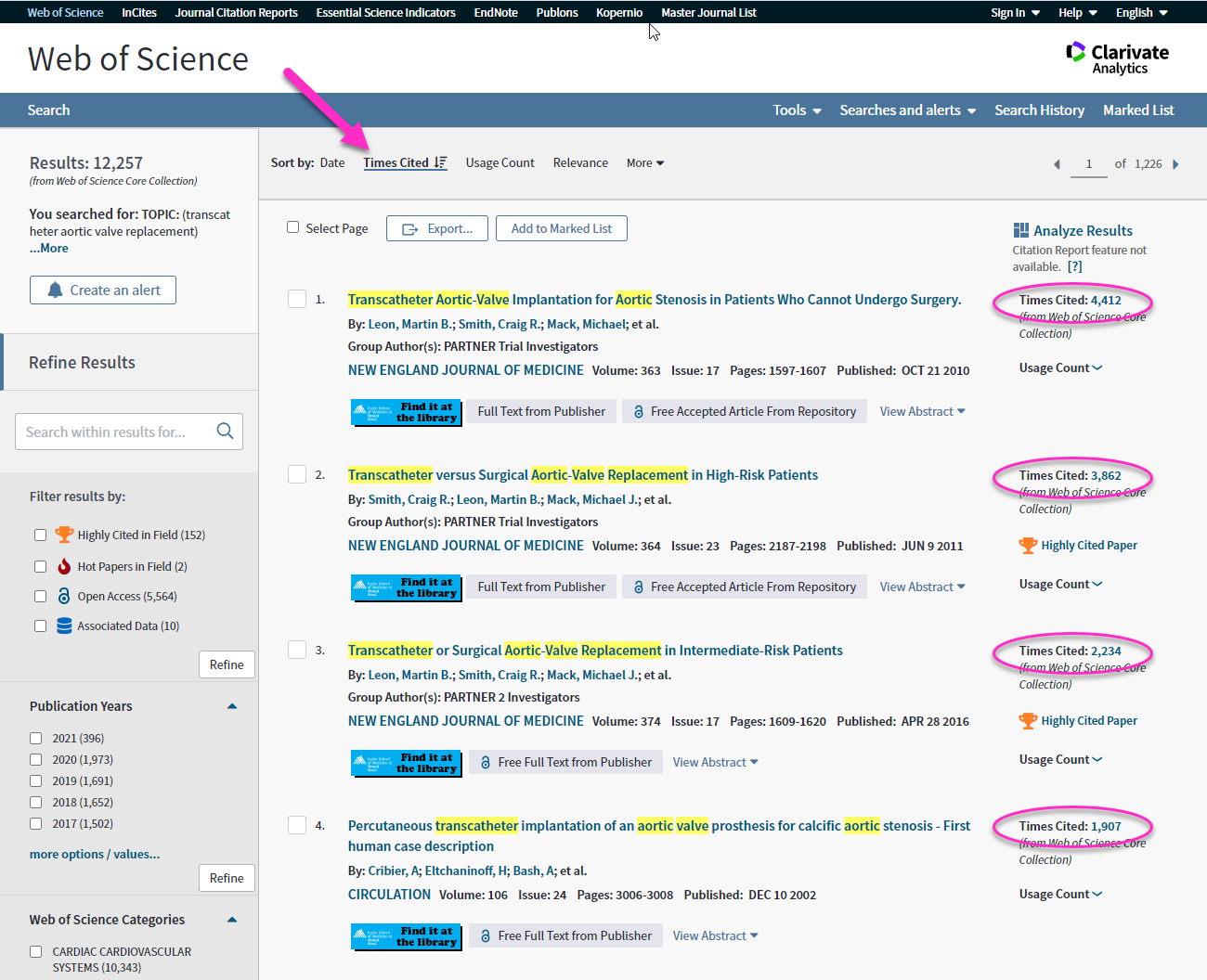 Web of Science search results page showing results sorted by times cited in descending order