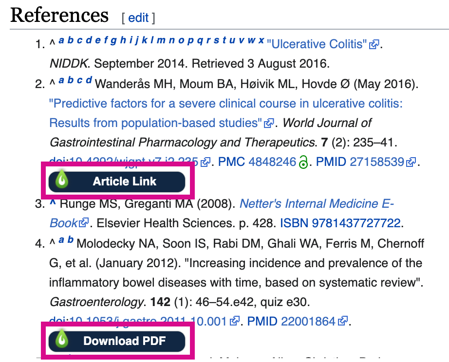 Wikipedia Libkey Nomad Access options