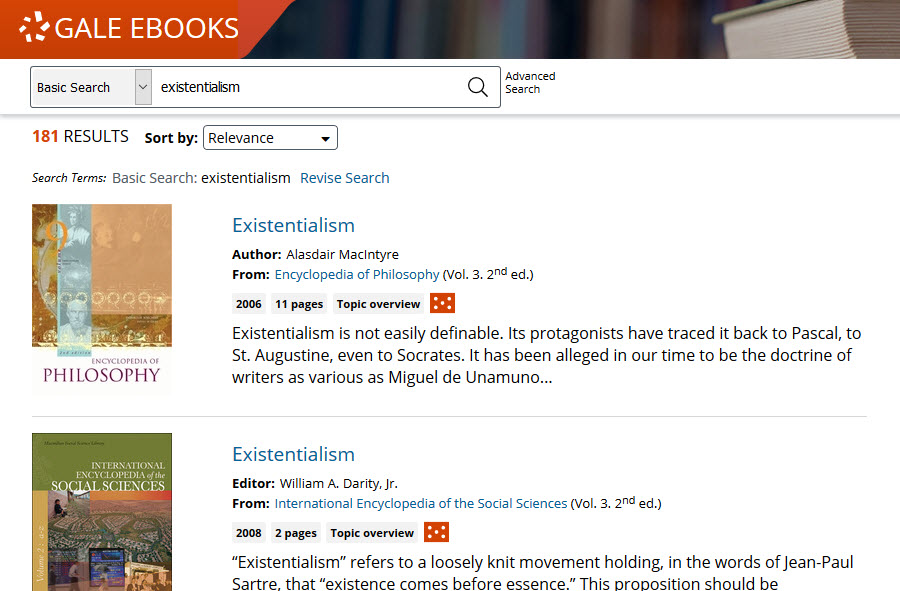 Search results of existentialism in Gale eBooks