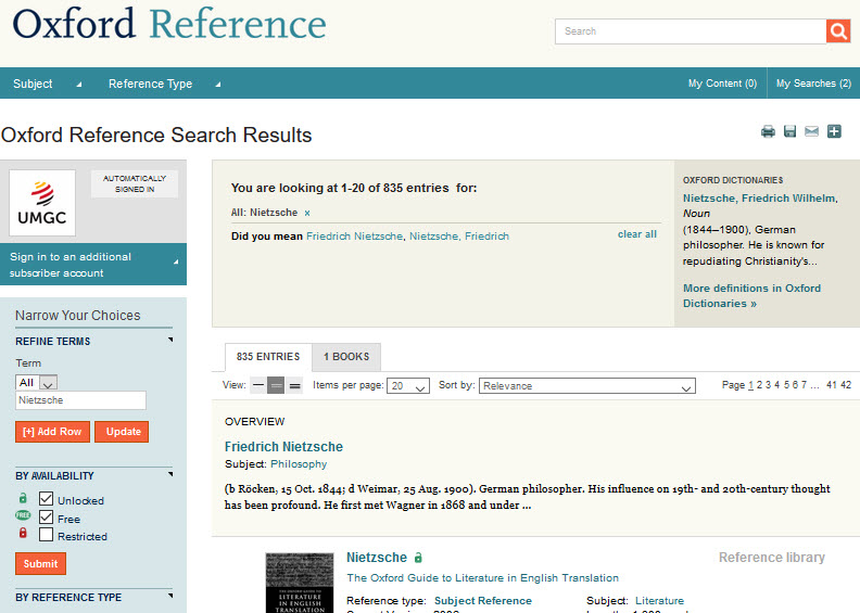 Search results of Nietzsche in Oxford Reference