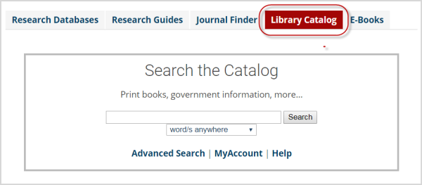 Library Catalog tab