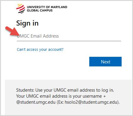 UMGC Sign in screen
