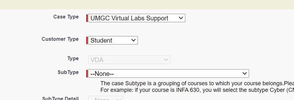 help screen with virtual labs selected