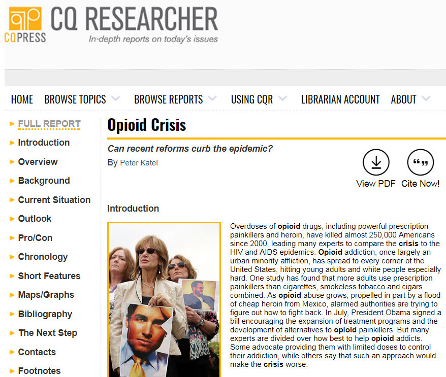Example of a CQ Researcher report