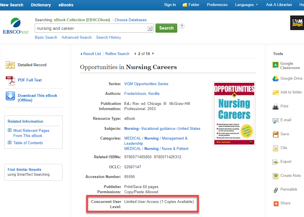 Screenshot of Ebsco eBooks database showing where in the record it will state if your institution has unlimited or limited access.
