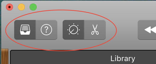 Library, Help, Smart Controls, and Editors Buttons