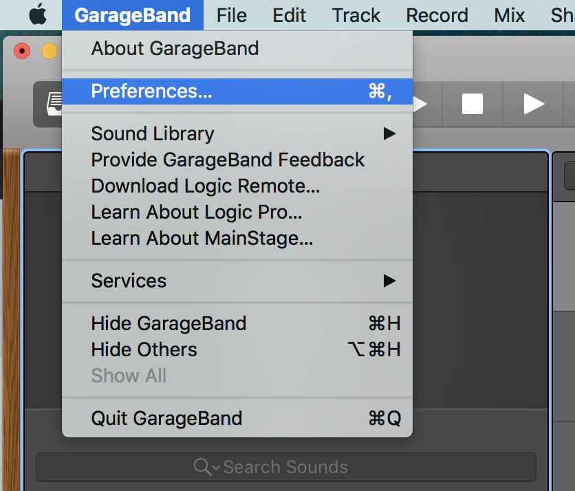 Selecting Preferences for Garage Band