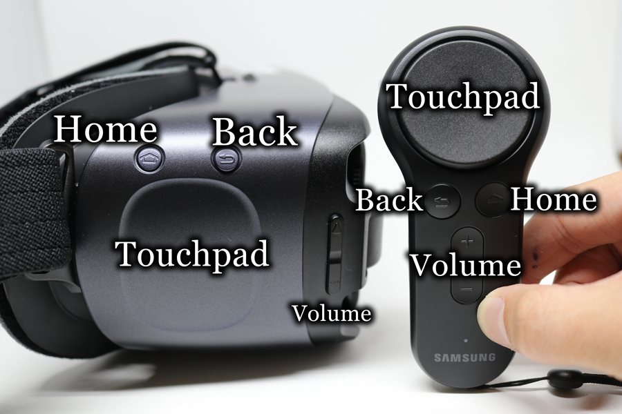 Samsung Gear VR and Controller labeled