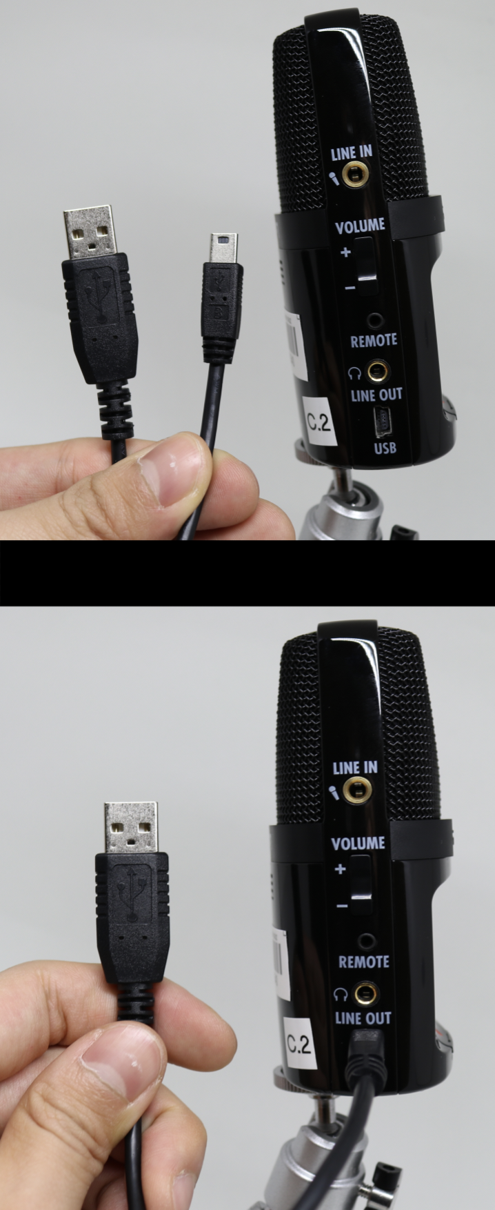 Attaching a USB plug into the H2n Recorder