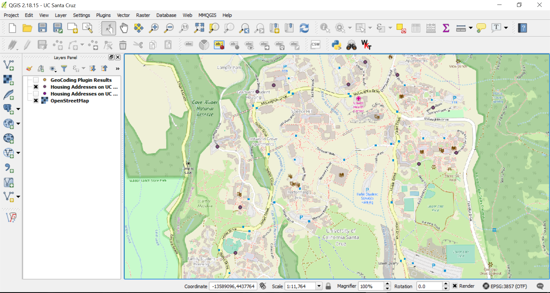 QGIS with Points Mapped from a CSV File