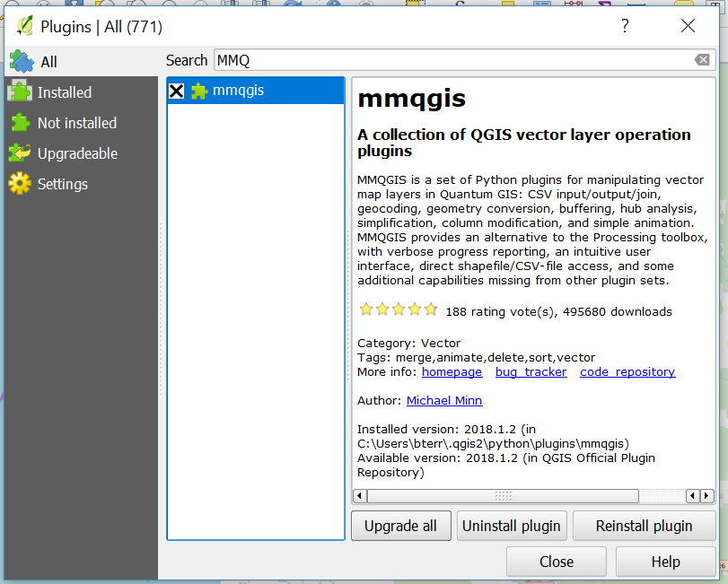 Downloading mmqgis from the QGIS Plugin Manager