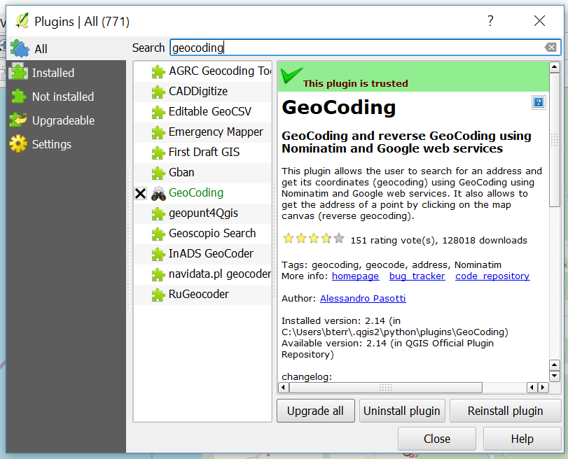 Downloading GeoCoding from the QGIS Plugin Manager