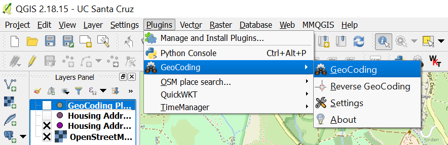 Selecting GeoCoding, under Plugins Dropdown Menu