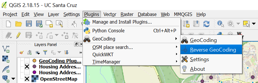 Selecting Reverse GeoCoding, from Plugins Dropdown