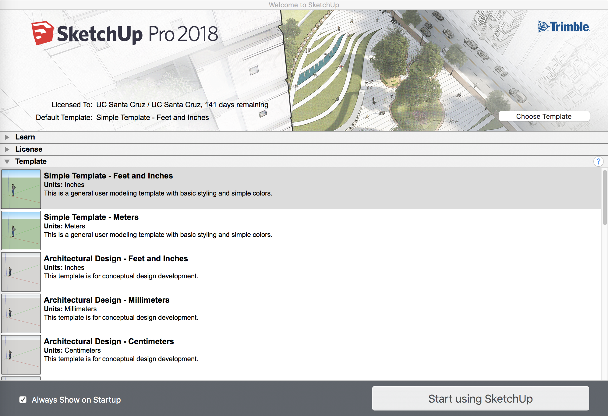 SketchUp Pro 2018 Template Selection Screen