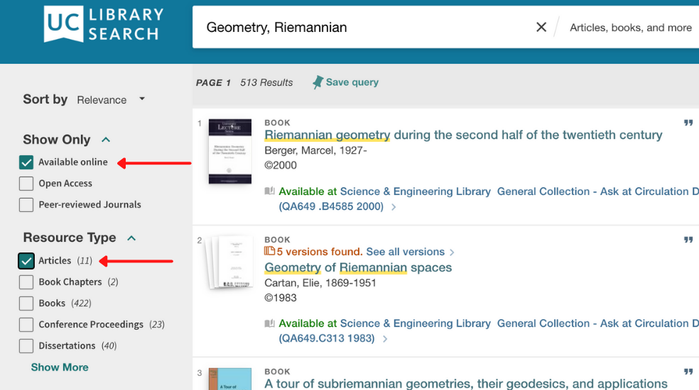 UC Library Search Articles