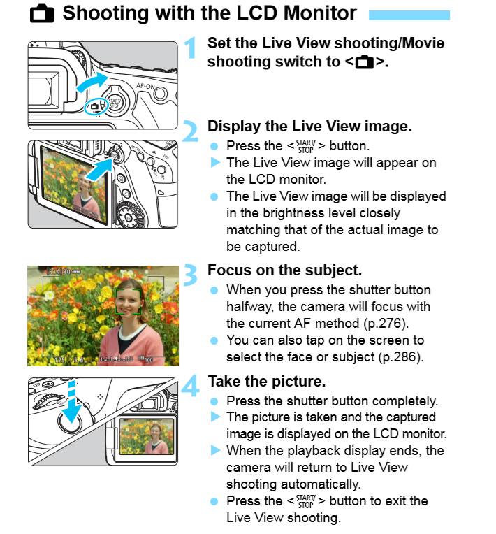 Shooting with LCD Monitor diagram