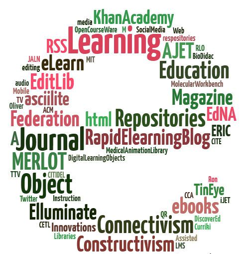 Educational tag cloud shaped to the letter e