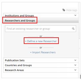 Define a new researcher in SciVal