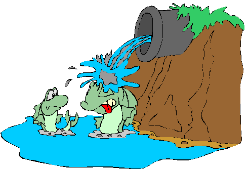 Cartoon of water pouring out of a pipe onto a crocodile