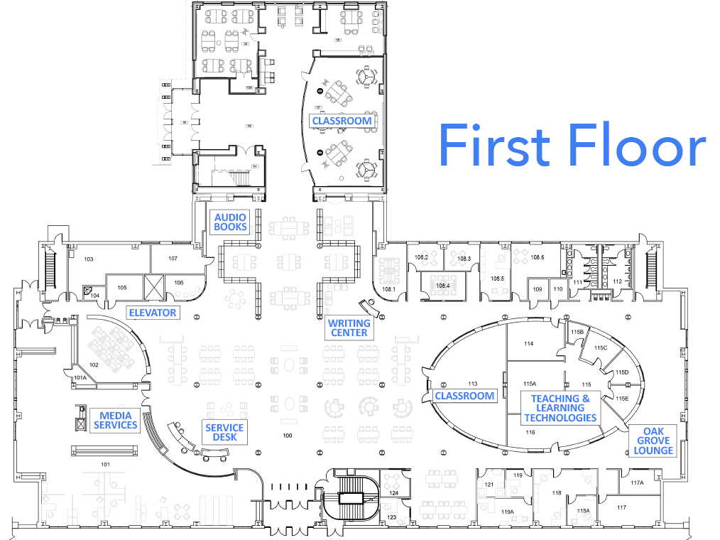 Floor plan of Belk library first floor