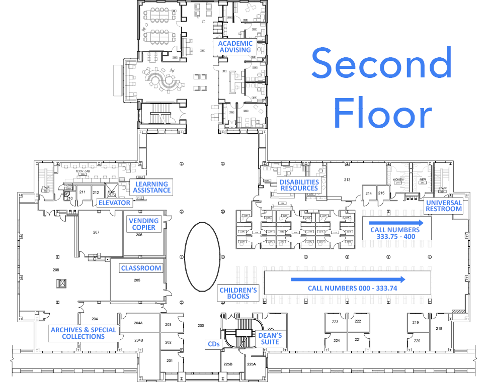 Floor plan of Belk library second floor