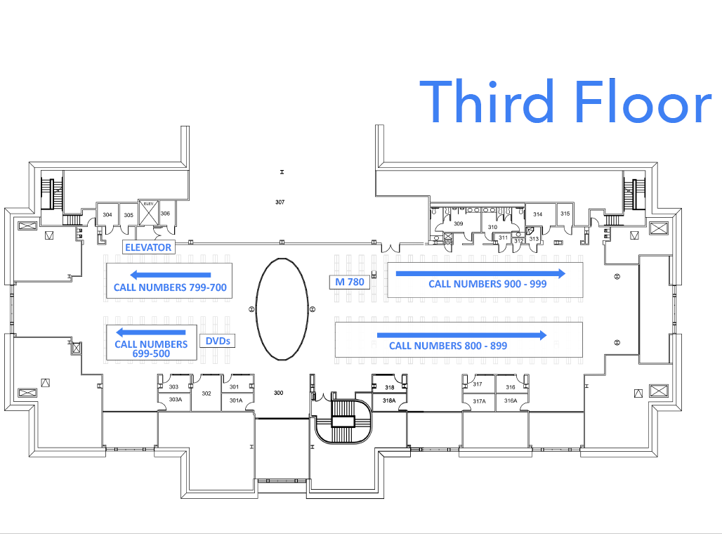 Floor plan of Belk library third floor