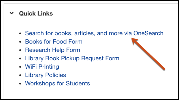 Quick Links menu with arrow pointing to OneSearch