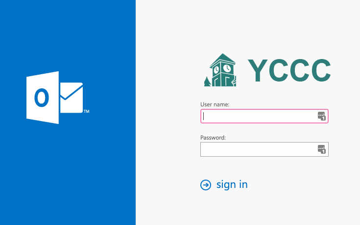 picture of the YCCC email webpage login screen