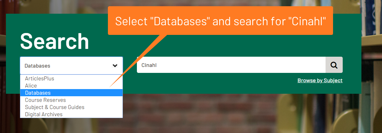 Select databases then search for Cinahl