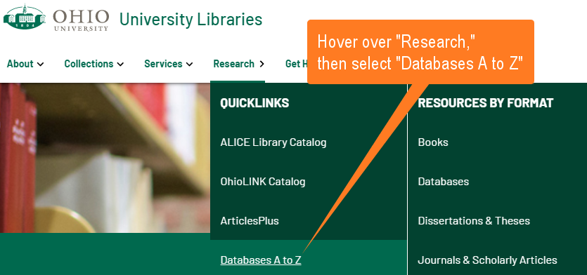 Demonstrating the A to Z link in the Research menu